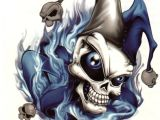 Skull Drawing Joker A Extra Large Temporary Tattoo Skull Joker Blue Flames A 7 X 4 25