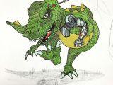 T Rex Cartoon Drawing Robo Rex Coming to Get You Doodle Draw Drawing Sketch