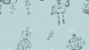 Tobot Z Drawing Robot Doodles Pattern Stock Vector Illustration Of Cute 83866011
