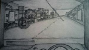 Window Drawing Easy Nata Bus Front Window View Perspective Art Easy Drawings