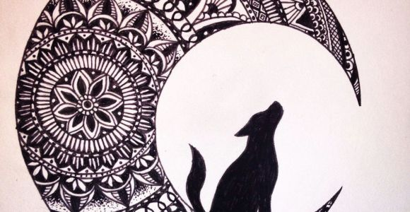 Wolves Ink Drawing Wolf In the Moon Black Ink Mandala Drawing Brusho Coloring Pics